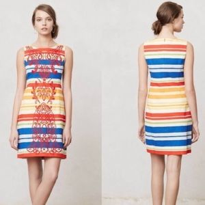 Anthro Tabitha Multi Stripe Totem Shift Dress 6